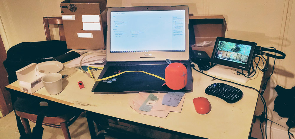 laptop with Raspberry Pi and LCD screen